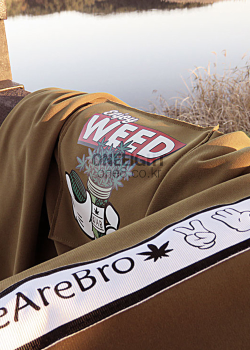 위아브로 후드/후디 (방수)#RWA702BW / BROWN 1718 WE ARE BRO ENJOYWEED HOODIE1