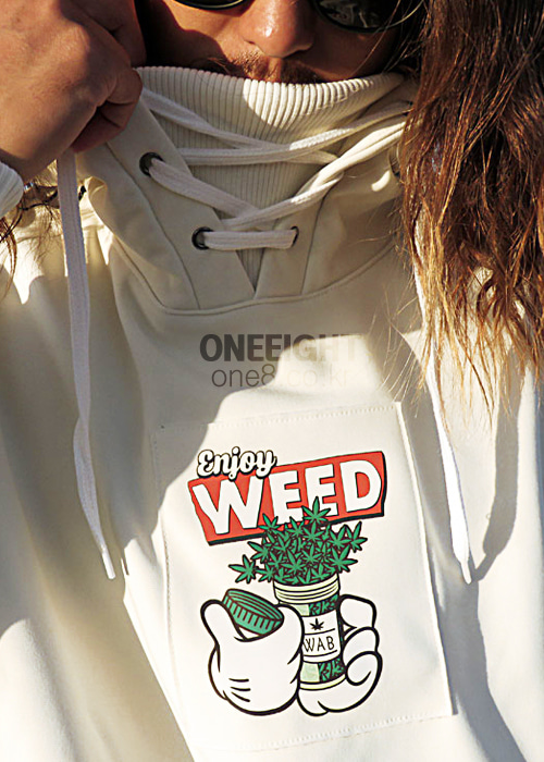 위아브로 후드/후디 (방수)#RWA702WH / WHITE 1718 WE ARE BRO ENJOYWEED HOODIE1