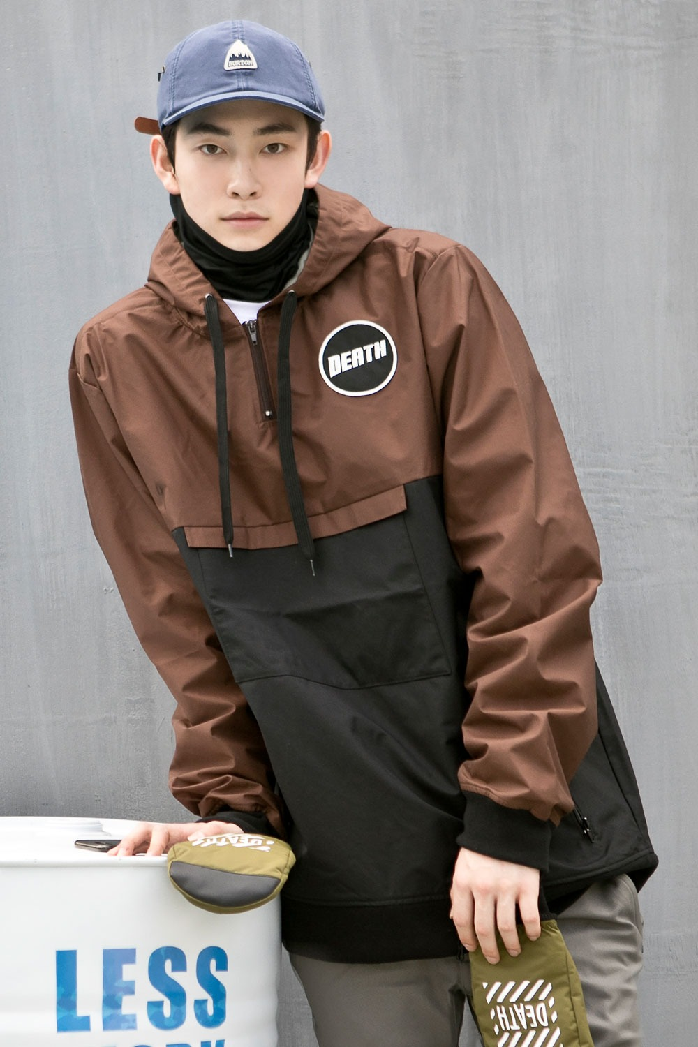 데스라벨 로고 아노락 자켓 RDL703BW/BROWN DEATH LABEL LOGO JK_FRDL703BW