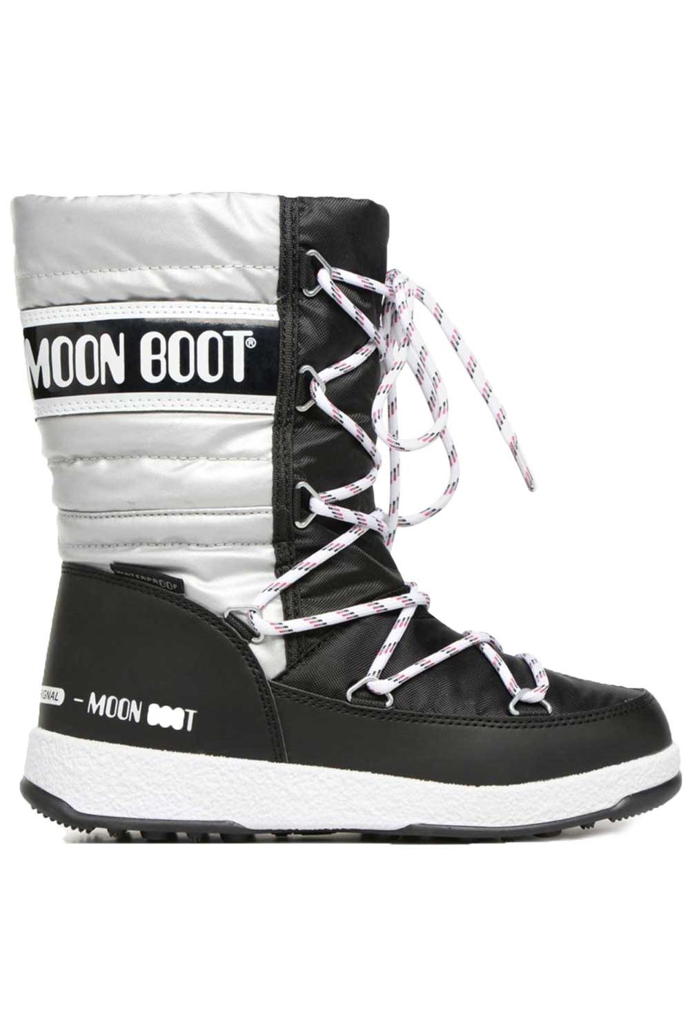 문부츠 키즈 방한부츠 JR 걸 퀼티드 WP_MOONBOOT YOUTH MOON BOOT JR GIRL QUILTED WP_BLACK/SILVER_VMQ864BS_AVMQ864BS