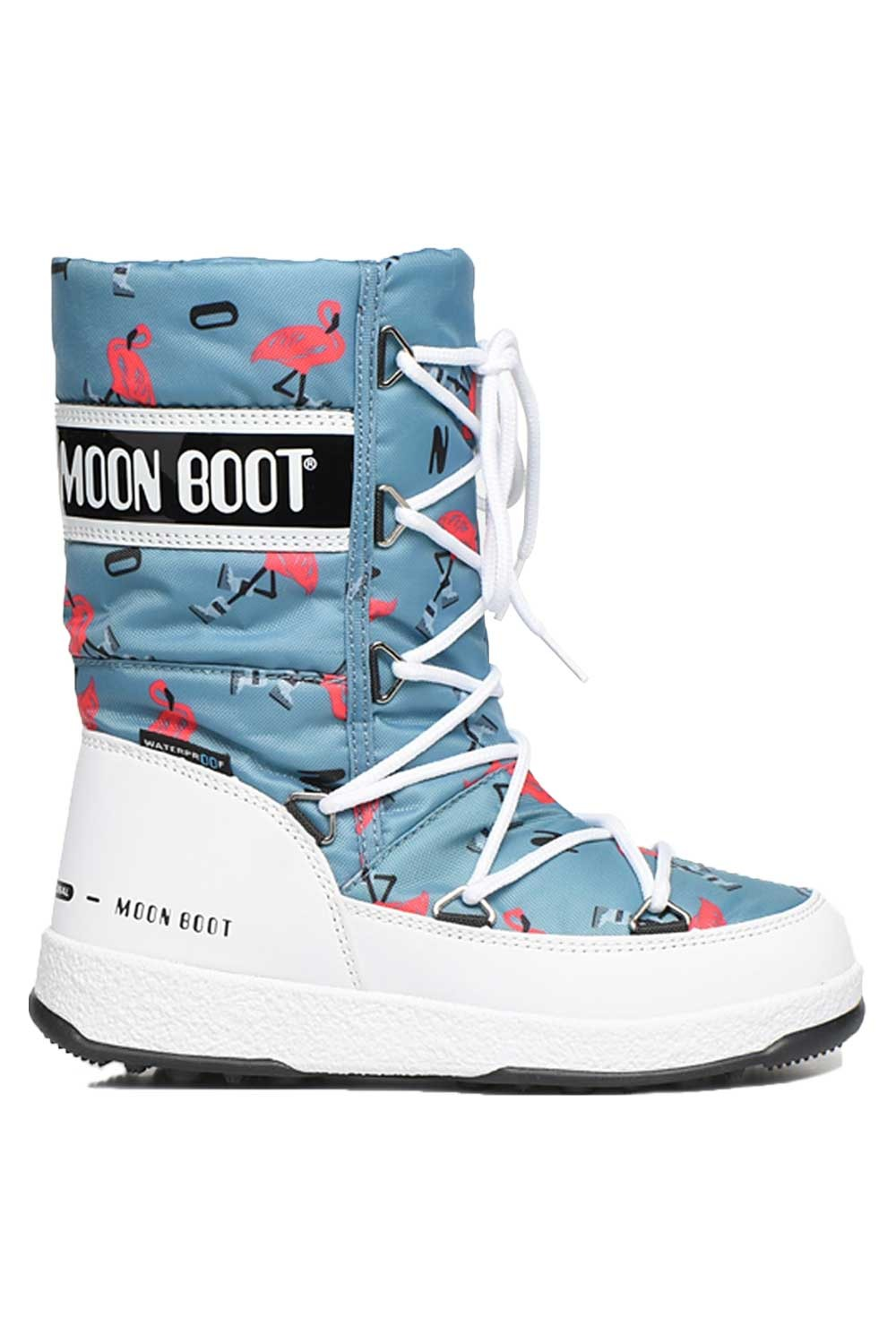 문부츠 키즈 방한부츠 JR 걸 퀼티드 플라밍고 WP_MOONBOOT YOUTH MOON BOOT JR GIRL QUILTED FLAMINGO WP_WHITE/LIGHT GREEN_VMQ862WE_AVMQ862WE