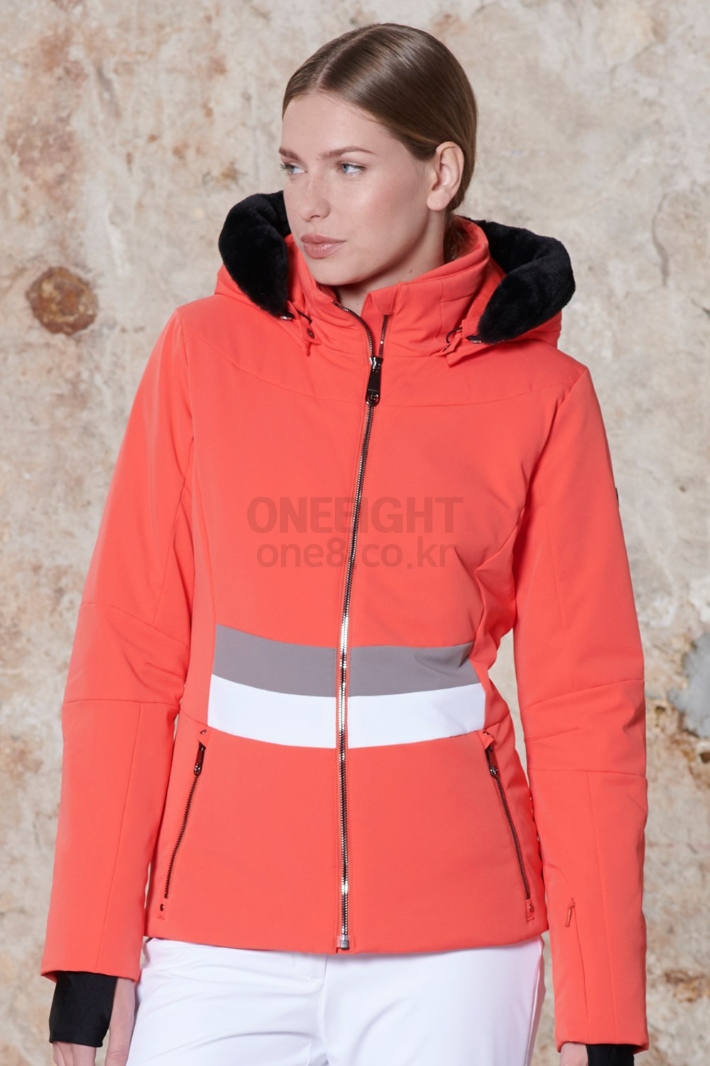 2021 쁘아블랑 여성 스트레치 스키 자켓 2021 POIVRE BLANC_W20-0800-WO/A_WMS STRETCH SKI JACKET_MULTICO ORANGE_B80P005OR_여성/스키복